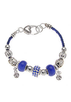Kim Rogers® Kim Rogers Blue Charm Bracelet With Leather Strap