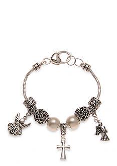 Kim Rogers Silver-Tone Angel Cross Charm Bracelet