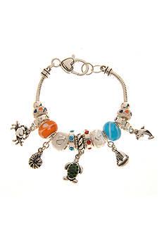 Kim Rogers® Orange, Blue and White Sealife Motif Charm Boxed Bracelet