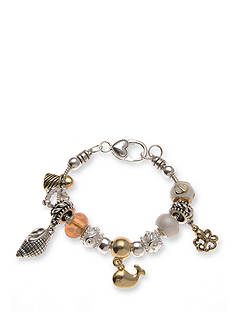 Kim Rogers Silver-Tone Beaded Whale Seashell Charm Bracelet