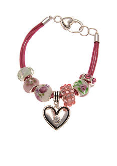 Kim Rogers Silver-Tone Pretty in Pink Charm Boxed Bracelet