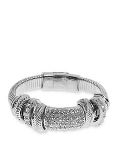 Kim Rogers Silver-Tone Crystal Bangle Bracelet