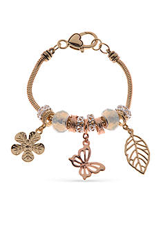 Kim Rogers® Tri-Tone Butterfly Charm Boxed Bracelet