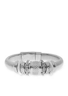 Kim Rogers Silver-tone Crystal Snake Chain Bangle Bracelet