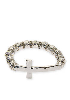 Kim Rogers Silver-Tone Cross With Crystals Stretch Bracelet