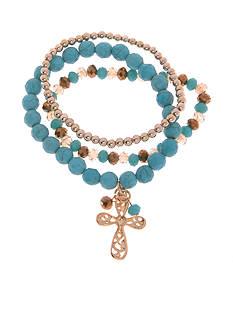 Kim Rogers Gold-Tone Howlite Cross Stretch Bracelet Set