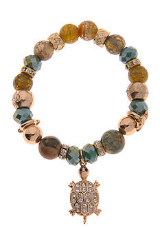 Kim Rogers Rose Gold-Tone Glass Bead Stretch Bracelet