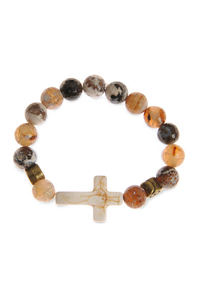 Kim Rogers® Natural Brown Agate Stone and Sideways Cross Strech Boxed Bracelet