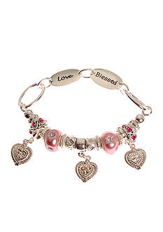 Kim Rogers® Pink Pearl Glass Charm Bead Stretch Bracelet with Blessed and Love