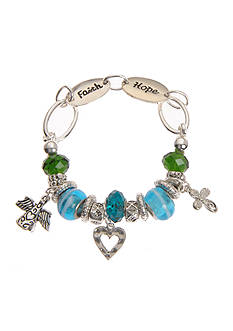 Kim Rogers® Turquoise and Green Glass Beads Charm Boxed Bracelet
