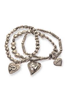 Kim Rogers Silver-Tone Three Heart Charm Bracelet Set