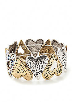 Kim Rogers® Two-Tone Heart Inspirational Stretch Bracelet