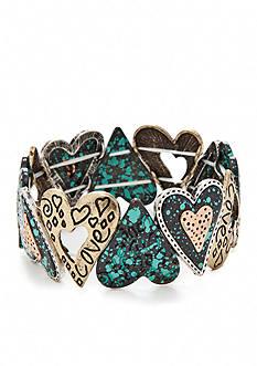 Kim Rogers® Multi-Tone Heart Stretch Bracelet