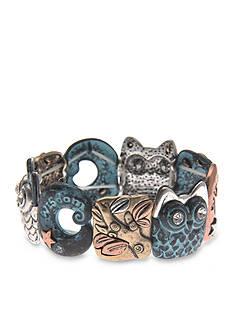 Kim Rogers® Tri-Tone Patina Wisdom Owl Stretch Bracelet