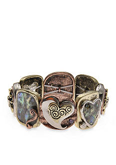 Kim Rogers Tri-Tone Abalone Heart Stretch Bracelet