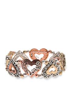 Kim Rogers Tri-Tone I Believe Love Heart Stretch Bracelet