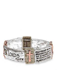 Kim Rogers Tri-Tone I Believe The Lord's Prayer Stretch Bracelet