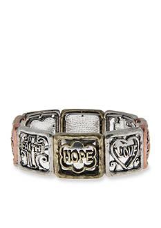 Kim Rogers Tri-Tone Hope Love Faith Square Stretch Bracelet