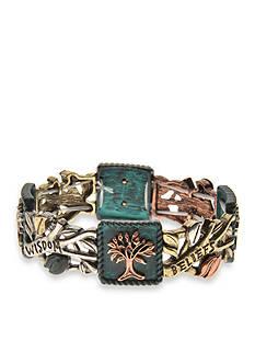 Kim Rogers Tri-Tone Patina Tree of Life Stretch Bracelet