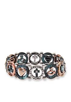 Kim Rogers Tri-Tone I Believe Hope Love Faith Stretch Bracelet