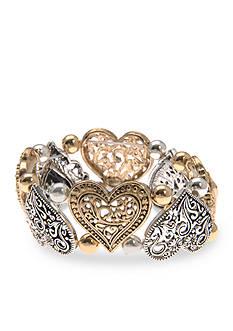 Kim Rogers Two-Tone Hearts Link Stretch Bracelet