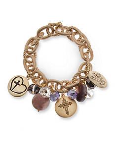 Kim Rogers Gold-Tone Purple Glass Angel and Cross Charm Bracelet
