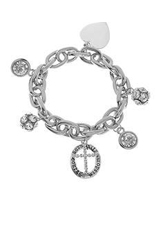 Kim Rogers Silver-Tone Heart Cross Chain Bracelet