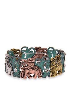 Kim Rogers Tri-Tone I Believe Elephant Stretch Bracelet