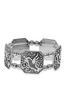 Kim Rogers Silver-Tone Dove Link Bracelet