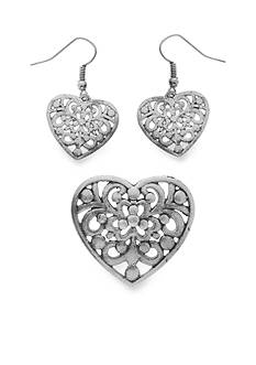 Kim Rogers Silver-Tone Heart Pendant and Earrings Set