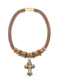 Kim Rogers® Gold-Tone Beaded Cross Magnetic Collar Necklace