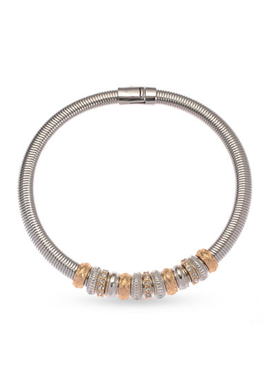 Kim Rogers® Two-Tone Crystal Rings Magnetic Collar Necklace