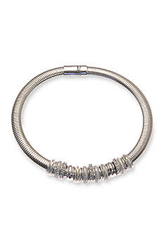 Kim Rogers Silver-Tone Collar Crystal Slider Necklace