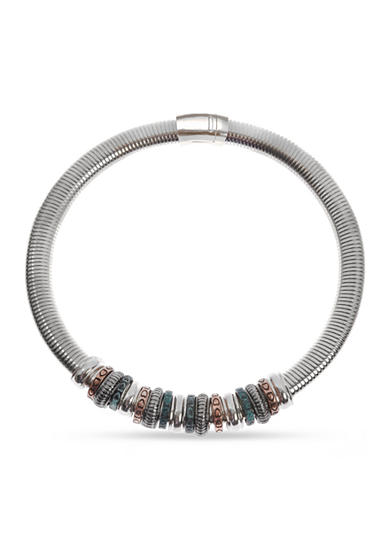 Kim Rogers® Tri-Tone Rings Magnetic Collar Necklace