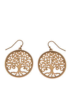 Kim Rogers Gold-Tone Tree of Life Drop Earrings