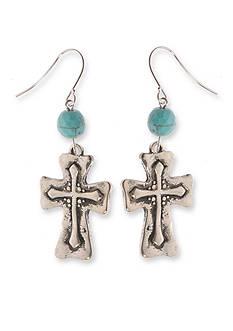 Kim Rogers Silver-Tone I Believe Cross Earrings
