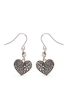 Kim Rogers Silver-Tone Heart Drop Earrings