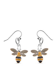 Kim Rogers Silver-Tone Yellow Bee Drop Earrings