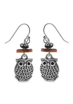 Kim Rogers Silver-Tone Owl Drop Earrings