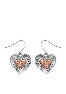 Kim Rogers Two-Tone Heart Drop Earrings