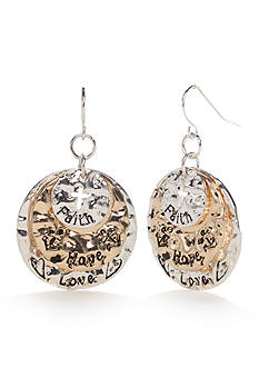 Kim Rogers Two-Tone I Believe Love Disc Drop Earrings