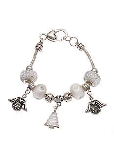Kim Rogers Silver-Tone White Glass Angel Charm Bracelet