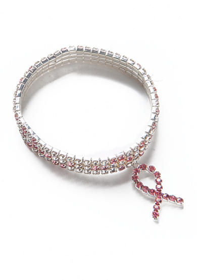 Kim Rogers® Silver-Tone Breast Cancer Awareness 3 Row Bracelet