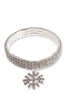 Kim Rogers Silver-Tone Crystal Snowflake Stretch Bracelet