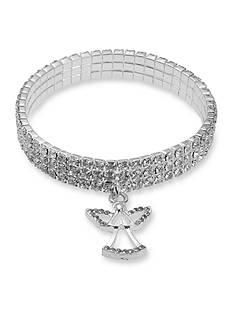 Kim Rogers Silver-Tone Crystal Angel Stretch Bracelet