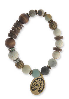 Kim Rogers Gold-Tone Tree of Life Agate Bead Boxed Bracelet