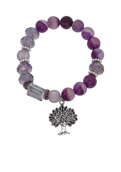 Kim Rogers® Silver-Tone Box Tree of Life Purple Stretch Bracelet