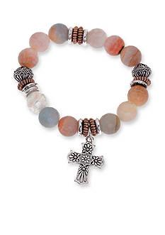 Kim Rogers Silver-Tone I Believe Cross Agate Bead Bracelet