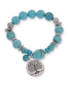 Kim Rogers Silver-Tone Tree of Life Blue Howlite Beaded Bracelet