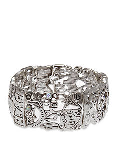 Kim Rogers® Silver-Tone I Believe Peace and Love Stretch Bracelet